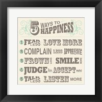 Framed Five Ways to Happiness