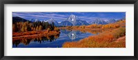 Framed Reflection of mountains in the river, Mt Moran, Oxbow Bend, Snake River, Grand Teton National Park, Wyoming, USA