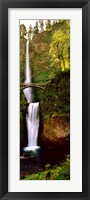 Framed Footbridge in front of a waterfall, Multnomah Falls, Columbia River Gorge, Multnomah County, Oregon