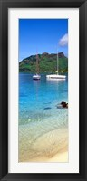 Framed Sailboats in the ocean, Tahiti, Society Islands, French Polynesia (vertical)