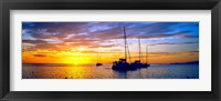 Framed Silhouette of sailboats in the ocean at sunset, Tahiti, Society Islands, French Polynesia