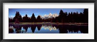Framed Reflection of mountains with trees in the river, Teton Range, Snake River, Grand Teton National Park, Wyoming, USA