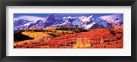 Framed Forest in autumn with snow covered mountains in the background, Telluride, San Miguel County, Colorado, USA