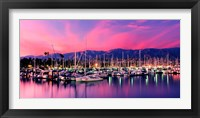 Framed Boats moored in harbor at sunset, Santa Barbara Harbor, Santa Barbara County, California, USA