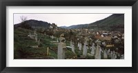 Framed Tombstones in a cemetery, Saxon Church, Biertan, Sibiu County, Transylvania, Romania