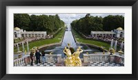 Framed Golden statue and fountain at Grand Cascade at Peterhof Grand Palace, St. Petersburg, Russia