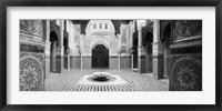 Framed Interiors of a medersa, Medersa Bou Inania, Fez, Morocco (black and white)