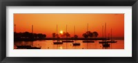 Framed Silhouette of boats in a lake, Lake Michigan, Great Lakes, Michigan, USA