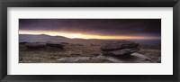 Framed Bright horizon with dark clouds from Higher Tor, Dartmoor, Devon, England