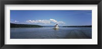 Framed Lighthouse at a river, Esopus Meadows Lighthouse, Hudson River, New York State, USA