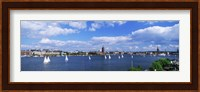 Framed Sailboats in a lake with the city hall in the background, Riddarfjarden, Stockholm City Hall, Stockholm, Sweden