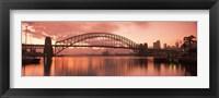 Framed Sydney Harbour Bridge under Pink Sky, Sydney Harbor, Sydney, New South Wales, Australia