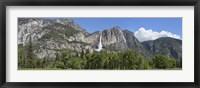 Framed Panoramic view of Yosemite Falls and the Yosemite meadow in late spring, Yosemite National Park, California, USA