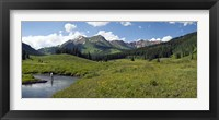 Framed Man fly-fishing in Slate River, Crested Butte, Gunnison County, Colorado, USA