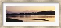 Framed Forggensee Lake and Allgau Alps at sunrise, Ostallgau, Bavaria, Germany