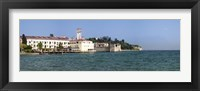 Framed Castle at the lakeside, Scaliger Castle, Lake Garda, Sirmione, Lombardy, Italy