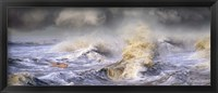 Framed Small boat in storm