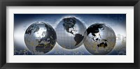 Framed Three globes with electronic diagram