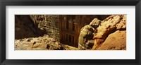 Framed High angle view of the Treasury, Wadi Musa, Petra, Jordan