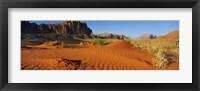 Framed Jebel Qatar from the valley floor, Wadi Rum, Jordan