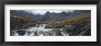 Framed Water falling from rocks, Sgurr a' Mhaim, Glen Brittle, Isle of Skye, Scotland