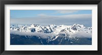 Framed Snow covered mountains, Hurricane Ridge, Olympic National Park, Washington State, USA
