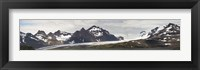 Framed Bay in front of snow covered mountains, Grace Glacier, Salisbury Plain, Bay of Isles, South Georgia Island