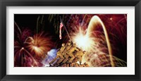 Framed Digital Composite, Fireworks Highlight the Marine Corps War Memorial, Arlington, Virginia, USA
