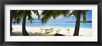 Framed Outrigger boat on the beach, Aitutaki, Cook Islands