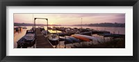 Framed Boats in a lake at sunset, Lake Champlain, Vermont, USA