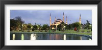 Framed Blue Mosque Lit Up at Dusk, Istanbul, Turkey