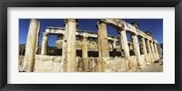 Framed Close up of columns in ruins, Hierapolis at Pamukkale, Anatolia, Central Anatolia Region, Turkey