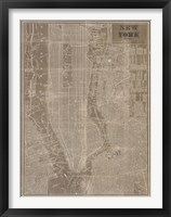 Framed Blueprint Map New York Taupe