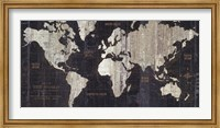 Framed Old World Map Blue