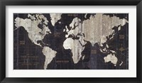 Framed Old World Map Blue