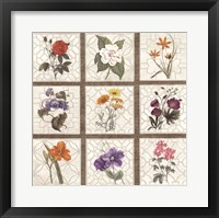 Framed Monument Etching Tile Flowers Square I