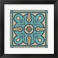Piazza Tile in Blue III Framed Print