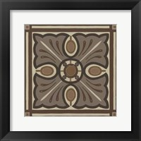 Piazza Tile in Brown I Framed Print