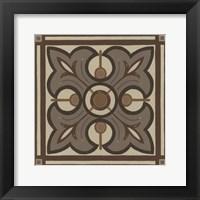 Piazza Tile in Brown II Framed Print