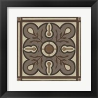 Piazza Tile in Brown III Framed Print