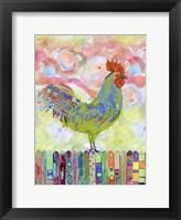 Rooster on a Fence I Framed Print