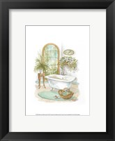Framed Watercolor Bath in Spa II