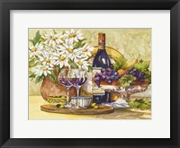 Framed Wine & Daisies