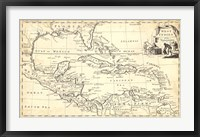Framed Map of West Indies