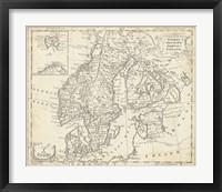 Framed Map of Sweden & Denmark