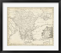Framed Map of Hungary & Turkey in Europe