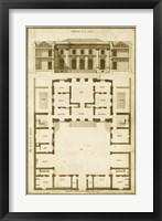 Vintage Building & Plan I Framed Print