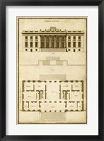 Vintage Building & Plan II Framed Print