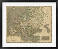 Framed Thomson's Map of Europe