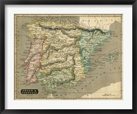 Framed Thomson's Map of Spain & Portugal